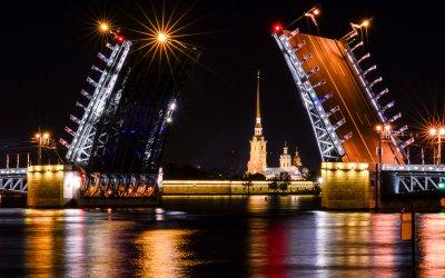 Ночной Петербург, развод мостов с борта теплохода